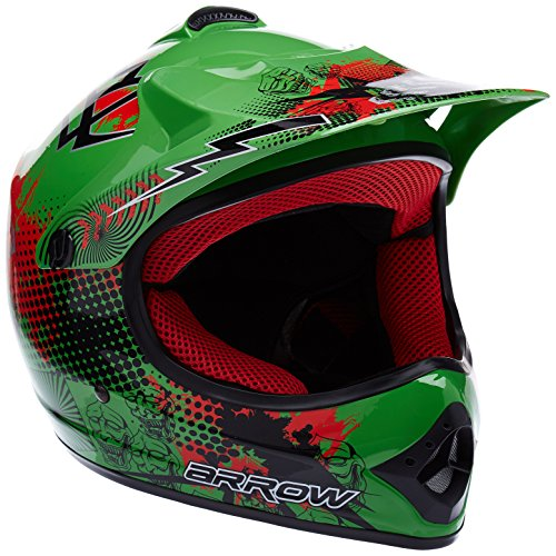 "ARMOR HELMETS® AKC-49 ""Green"" · Kinder-Cross-Helm · Motorrad-Helm MX Cross-Helm MTB BMX Cross-Bike Downhill Off-Road Enduro-Helm Moto-Cross Sport Cross-Bike · DOT Schnellverschluss Tasche XS (51-52cm)"