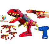 Toys Bhoomi 3-in-1 Take-A-Part 17 Pcs Transforming Dinosaur Toy Gun Tyrannosaurus T-Rex Dinobots Emits Exciting Lights And Lively Sound Effects Tools Kit Set With Electric Drill STEM Toy Games