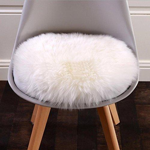 Künstliche Wolle Warm Hairy Carpet Sitzkissen Weiche Künstliche Schaffell Teppich Stuhlabdeckung (White)
