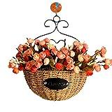 Erba naturale intrecciato in rattan intrecciato cestino, cestino verde per piante da appendere alla parete vaso di fiori per la decorazione domestica