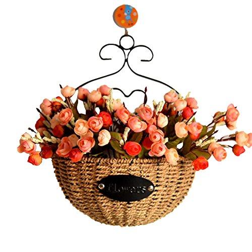seagrass trenzado colgante macetero cesta montado en la pared vintage hogar decorativo maceta shabby chic sostenedor de la planta con hierro arte marco