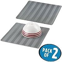 mDesign - Bayeta escurreplatos, de silicona, para mesada de cocina, diseño en zig zag - mediano - Gris - Paquete de 2