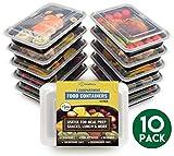 dealberry 1, 2, oder 3fach BPA-frei Mahlzeit Prep Container. Wiederverwendbar Kunststoff Frischhaltedosen mit Deckel. Stapelbar Mikrowelle Gefrierschrank Spülmaschinenfest Bento Lunch Box Set, plastik, durchsichtig, 1 Compartment