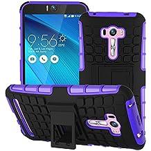 Voguecase® Para Asus Zenfone Selfie ZD551KL, Funda Carcasa Duro Tapa Case Cover con soporte (púrpura) + Gratis aguja de la pantalla stylus universales
