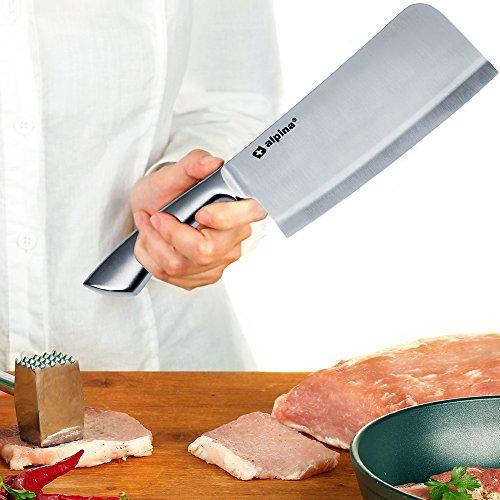 Deuba Alpina Hackbeil Küchenbeil aus Edelstahl 18cm - Hackmesser Metzgerbeil Fleischerbeil