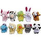 10 X Marionnettes/Jouets Aux doigts Formes animales En peluche
