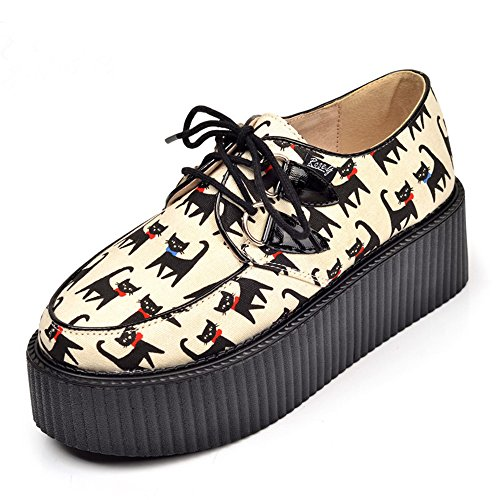 RoseG Lovely Gato Creepers Plataforma Cordones Zapatos Mujer...