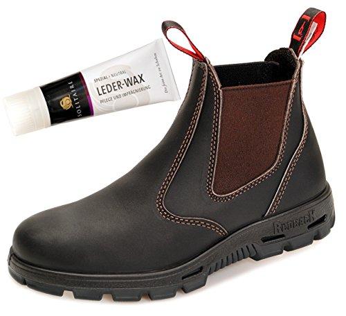 RedbacK BUSBOK Work Boots Arbeitsschuhe mit Stahlkappe aus Australien Unisex - Claret Brown - mit schwarzer Sohle + Lederwax (UK 08.0 / EU 42.0)