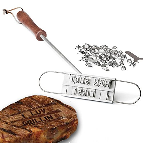 Swanda barbecue grill branding Iron con 55lettere intercambiabili personalizzato carne bistecca Burger barbecue griglie nomi strumento bistecca Outdoor - Carne Branding Iron