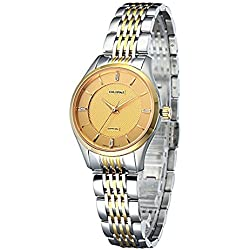 OLIPAI Gents Stainless Steel Swiss Quartz with Gold Dial and Gold Plated Bracelet Watch