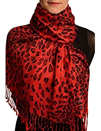Burgundy Diagonal Leopard On Red Pashmina Feel With Tassels - Rouge ?charpe Taille Unique - 70cm x 180cm