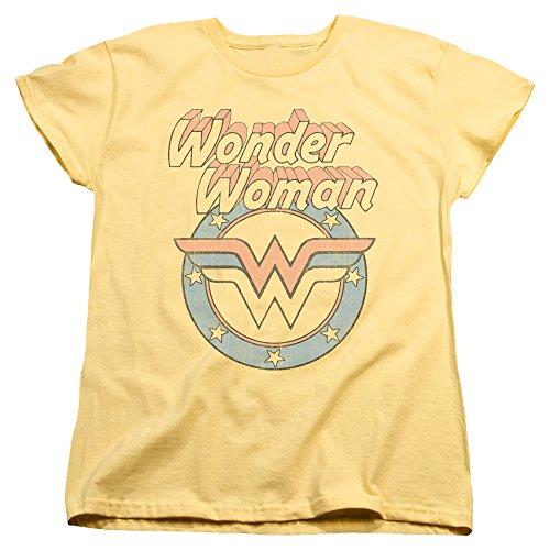 Popfunk Women's Wonder Vintage Logo Yellow T Shirt Yellow Large