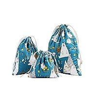 Qinlee 3pcs Cotton Drawstring Bags Polar Bear Pattern - Cotton Canvas/Swim / Gym/Book Bag Natural Cotton Shopping School Bags Rucksacks Choice of Three Size