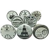 Keramikgriffe für Türen und Schränke, Antik-Look, Vintage-Design, Grau / Weiß / silberfarben, 8-teiliges Set