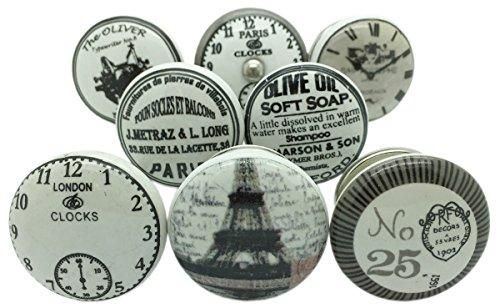 Und Griffe Knöpfe Für Kommoden (Set von 8grau weiß silber Keramik Tür Knöpfe Vintage Antik Schrank Tür Griffe)