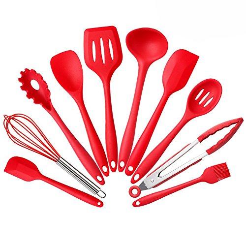 10pezzi Premium Silicone cottura utensili da cucina resistente al calore Spoonula, Spazzola, Frusta, Spatola Grandi e piccoli, Mestolo, Paletta e Forchetta, Cucchiaio, Pinze, Pasta, Rosso