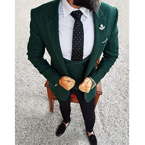 Slim Kostüm Mariage Homme - GFRBJK Männer Hochzeitsanzug 2018 Elegant 3 Stück Hochzeitskleid Wolle Dunkelgrün Smoking Jacke Terno Slim Bräutigam Anzüge Für Männer , Grün , M