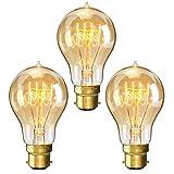 KINGSO 3x Glass Glühlampe A19 Retro Lampe E27 vintag birne 60W 220V Squirrel Cage Leuchtmittel Ideal für Nostalgie und Retro Beleuchtung