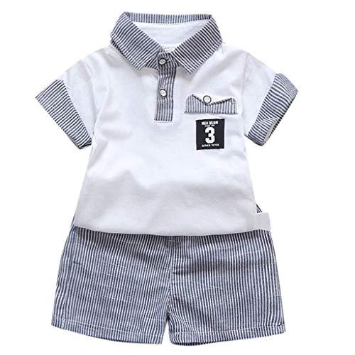 BHYDRY Toddler Baby Boys Gentleman Camiseta Tops Raya Pantalones Cortos Trajes Conjunto...