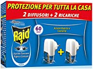 Raid Pacco Promo Liquido Elettrico Antizanzare Tigre e Comuni, Inodore, 2 Diffusori e 2 Ricariche