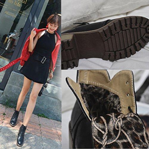 Invernale Guardare Da Sera Tacco Donna Oaleen Lacci Stivaletti Scarpe Nero Blocco Metà R41qfw