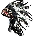 X01 Sombrero Indio , Penacho , Tocado de plumas de color blanco y negro con pelo negro