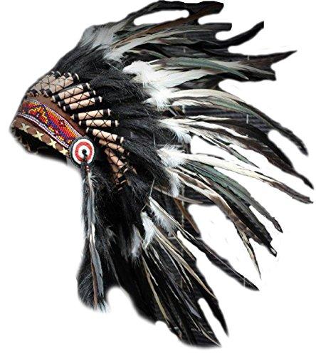 X01-Indian Hut, Plume, schwarz und weiß mit schwarzen Haaren Feder (Haare, Weiße Federn Und Schwarze)