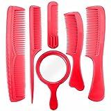 Majik Set Of 6 Pcs Classic Hair Combs Set With Mirror For Girls And Women, Men, 25 Gram, Pack Of 1 (Dark Pink)