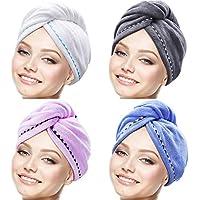 4 Stück Mikrofaser Haar Handtuch Wrap Turbie Haar Handtuch Twist Kopf Wrap Haar Turban Cap Quick Dry Mikrofaser Kopf Handtuch für Damen Mädchen