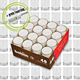 DecoLite Set: 48 Teelichthalter Glas (Sandra Rich) inkl. 48 Teelichter mit 8 Stunden Brenndauer und durchsichtigem Becher (bolsius) + Kerzenprofi Stabfeuerzeug
