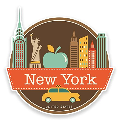 Preisvergleich Produktbild 2 x 10cm/100mm New York USA Vinyl SELBSTKLEBENDE STICKER Aufkleber Laptop reisen Gepäckwagen iPad Zeichen Spaß #9208