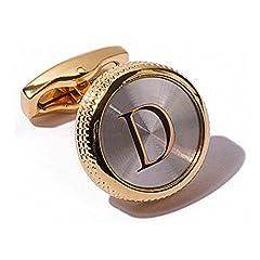 Idea Regalo - Da uomo 2PCS Fashion Dazzle da smoking gemelli polsino placcato oro 18K tasto lettera dell' alfabeto A-Z e placcato Oro, colore: D, cod. Letter0002