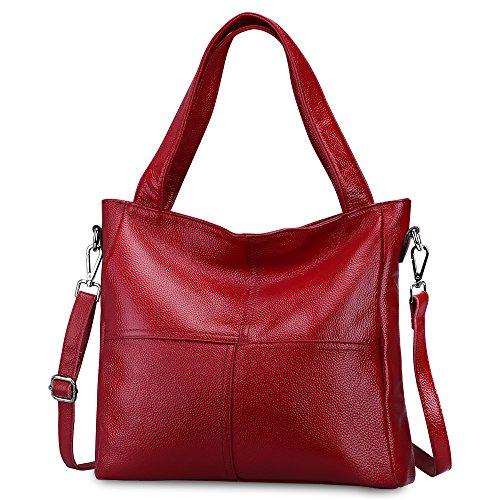 S-ZONE Frauen Rindsleder Echtes Weiches Leder Tote Art und Weiseklassische Leichte Bonzer Einkaufen Geldbeutel Handtasche Umhängetasche Schulter Beutel (Handtasche Rote)