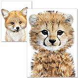 artpin® Poster Kinderzimmer - Bilder Babyzimmer - A4 Wandbilder Mädchen Junge - Fuchs Tiger (P24)