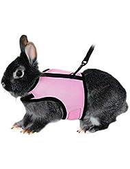UEETEK El arnés suave del animal doméstico con el plomo para conejos Los conejitos pequeños del conejito, apoyan los animales domésticos Peso 1.5lbs-4lbs, tamaño L (color de rosa)