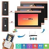 YUEC 7 Pouces 3 Filaire Moniteur WiFi vidéo vidéo Sonnette téléphone Talkie-walkie système avec caméra de Vision Nocturne câble 2X 1000TVL, Soutien interphone APP à Distance,A