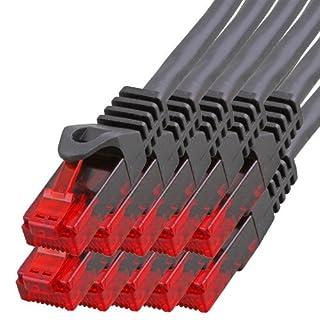 BIGtec - 10 Stück - 10m Gigabit Netzwerkkabel Patchkabel Ethernet LAN DSL Patch Kabel schwarz (2X RJ-45 Anschluß, CAT.5e, kompatibel zu CAT.6 CAT.6a CAT.7) 10 Meter