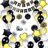DAYPICKER Décorations Anniversaire Or Noir, Décorations de fête en Noir et Or, Ensemble de fête Comprenant Un Joyeux Étoile Cœur Ballon Papier Poms Or Noir Perlé Ballons du 20 au 30 du 40 au 50 du 60