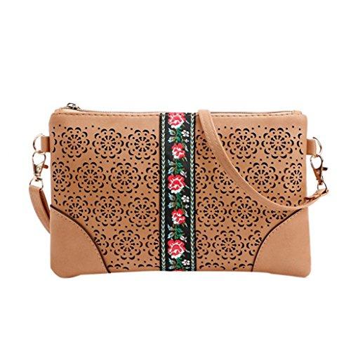 BZLine® Frauen Handtaschen Schulter Messeng Blumen Tasche Hippie Stickerei Tasche Braun