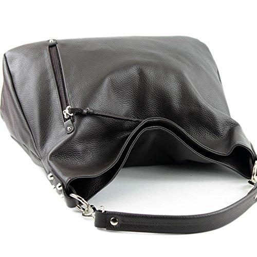 Leder ital Nappaleder Shopper T121 de Dunkelbraun Schultertasche Damentasche modamoda Ledertasche Leder H7vOwHq