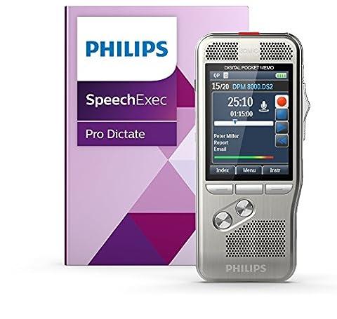 Philips PSE8000 Digitales Diktiergerät Aufnahmegerät inkl. Diktier- und Spracherkennungssoftware, Bedienung per Schiebeschalter, 3D-Mikrofon für ausgez. Stereo-Aufnahmen, Farbdisplay, Edelstahlgehäuse