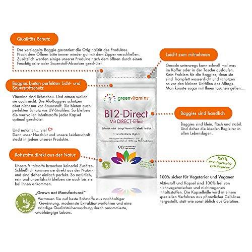Vitamin B12 komplex, 90 Tabletten mit 1000mcg Methylcobalamin. Vegane Lutschtabletten mit Erdbeergeschmack für eine sublinguale Aufnahmen. B12-Direct von greenvitamins - 6