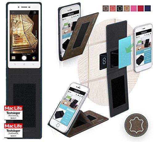 reboon Hülle für Oppo Neo 7 Tasche Cover Case Bumper | Braun Wildleder | Testsieger