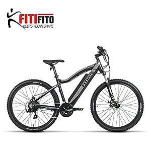 Fitifito Copenhagen 27,5 Zoll Elektrofahrrad Mountainbike E-Bike Pedelec, 36V 250W Bafang Heckmotor, 21 Gang Shimano Schaltung, Matt Grau Schwarz