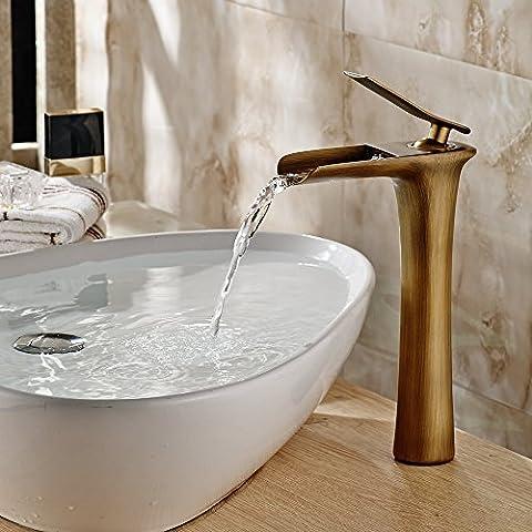 Hiendure® Laiton Salle de bains Waterfall Sink mitigeurs Élevé Robinet, laiton antique