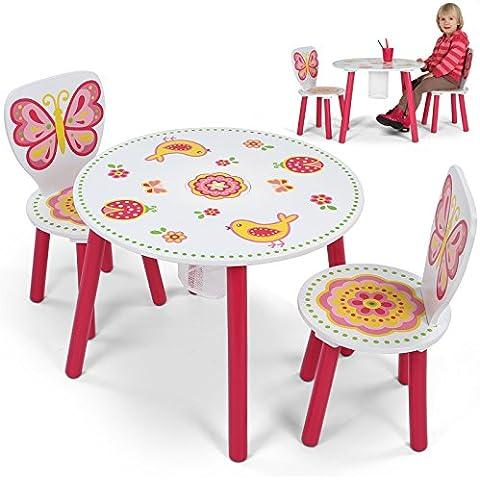 Infantastic – Mueble infantil de madera – modelo 1 (Conjunto de muebles – 2 sillas y 1 mesa con motivo mariposa)