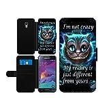 Alice im Wunderland I'm not crazy Cat Cheschire Kunstleder wallet Handy Tasche Schutz Hülle für Samsung Galaxy S4 mini