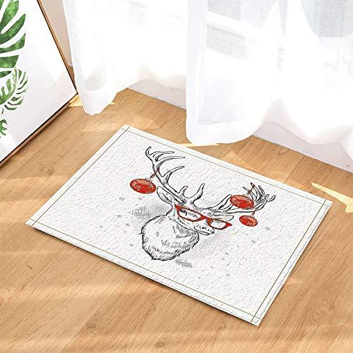 ajhgfjgdhkmdg Weihnachtsdekore Elch Hirsche mit rotem Weihnachtsball auf Geweih für Bad-Teppiche des neuen Jahres rutschfeste Fußmatte Indoor 60X40CM - Geweih-bad Möbel