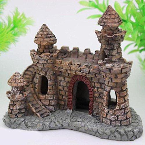 cartone animato acquari castello resina decorazione castello pesci d'acquario serbatoio torre,Fami