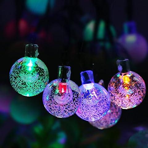Solar Hada del Jardín de las Luces, el Color Multi 6 Metros 30 LED al Aire Libre, Luz de la Secuencia Patio Bola de Cristal para Árboles de Navidad y Decoración de Jardín.